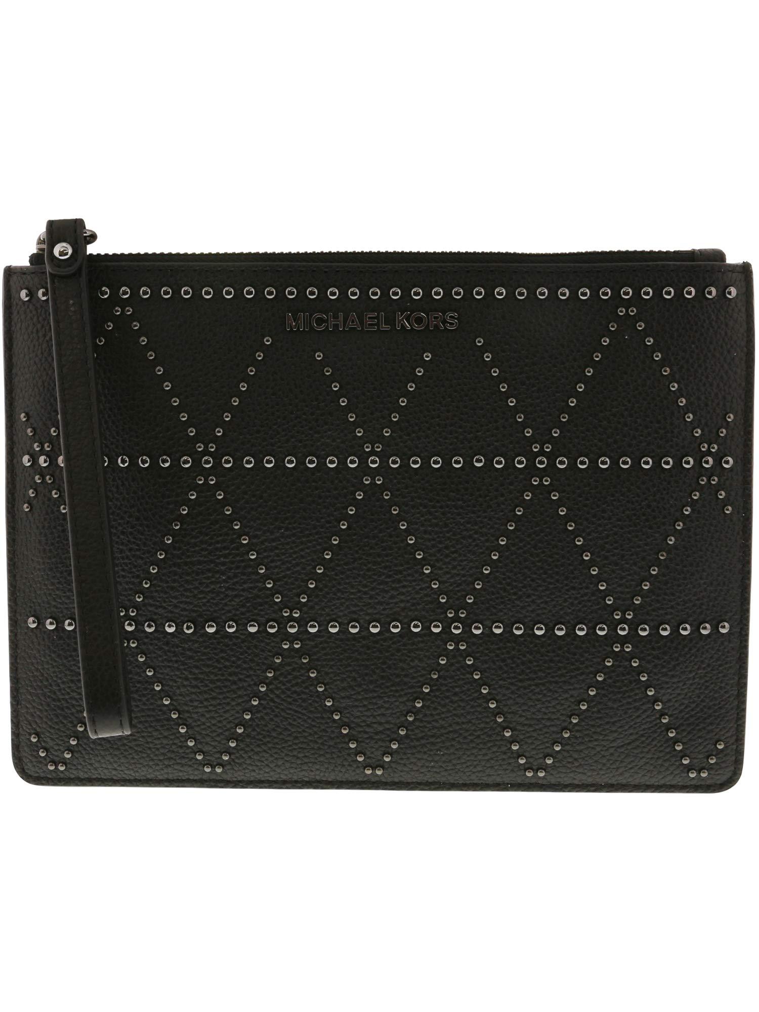 Michael Kors Adele Extra Large Leather Zip Clutch - Black