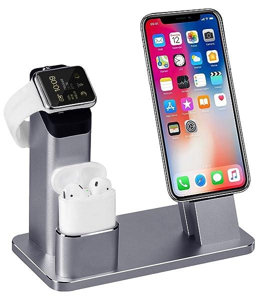 3 in 1 Ladestation Kompatibel mit Apple Watch Series 4/3/2/1, Aluminum Ständer für Apple Watch iPhone Airpods, Docking Statio