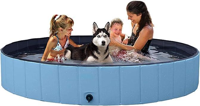 YAHEETECH Blue Foldable Hard Plastic Dog Swimming Pool 11.8 inch,XXL