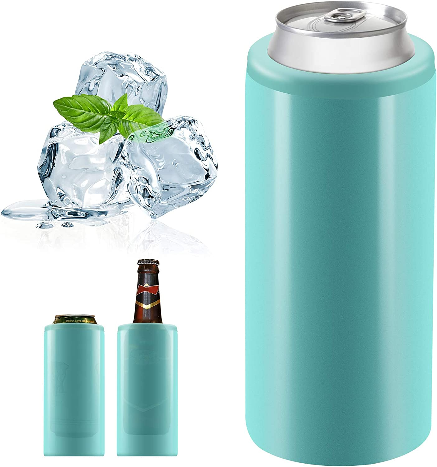 Domccy 12oz Skinny Can Cooler, Triple Insulated Stainless Steel Slim Can Cooler, Double-Walled Vacuum Slim Can Coozie for Slim Beer, Soda, Beverages and Tall Skinny Can (Light Green)