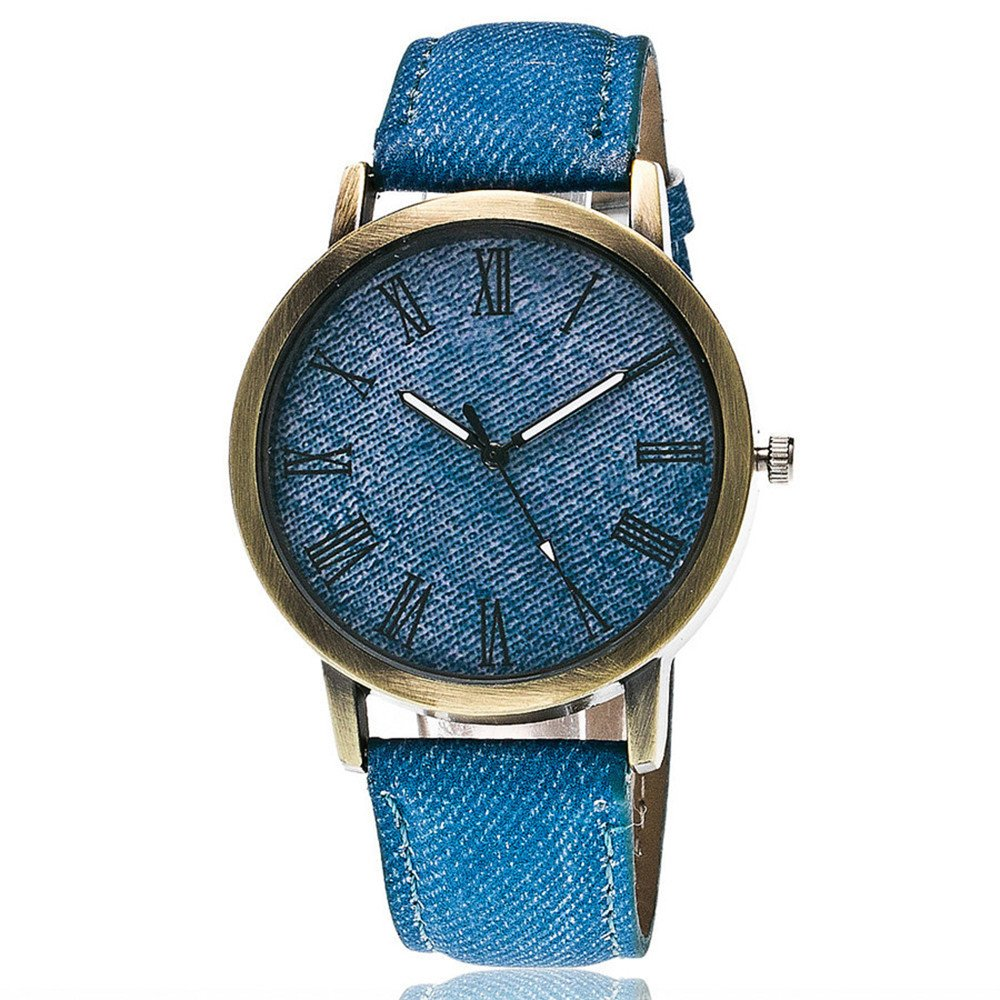 WoCoo Watch,Luxury Quartz Canvas Printed dial Retro Solid Leather Band for Lovers(Blue)