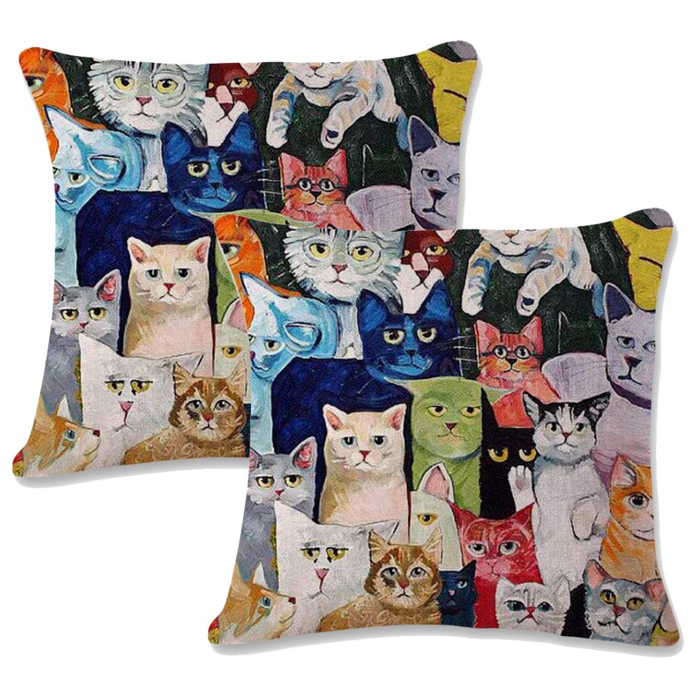 Jotom Cotton Linen Throw Pillow Case Cover Animal Cushion Covers For Couch Sofa Home Decorative 45 X 45cm Set Of 2 Multicolor Cat 1 Buy Online In Bermuda At Bermuda Desertcart Com Productid 106341049
