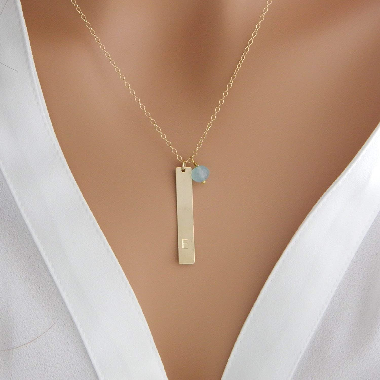 Sterling Silver Initial Necklace Vertical Bar Necklace Minimal Personalized Jewelry Gifts for Women Best Friend Tiny Birthstone Necklace