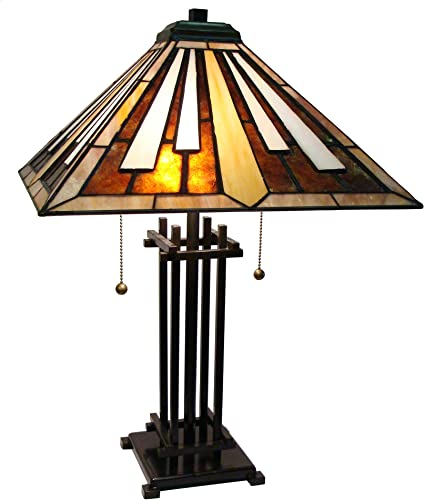 Fine Art Lighting M1682 116 Glass Cuts Mission Style Tiffany Table Lamp, 16 x 23