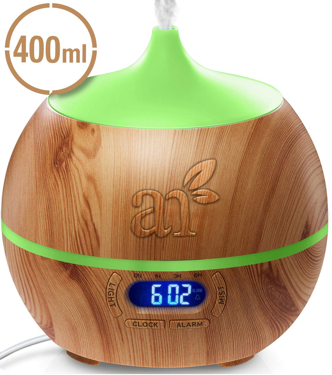 ArtNaturals Essential Oil Diffuser and Humidifier with Bluetooth Speaker Clock - (13.5 Fl Oz / 400ml Tank) - Electric Cool Mist Aromatherapy for Office, Home, Bedroom, Baby Room 7 Color LED Lights