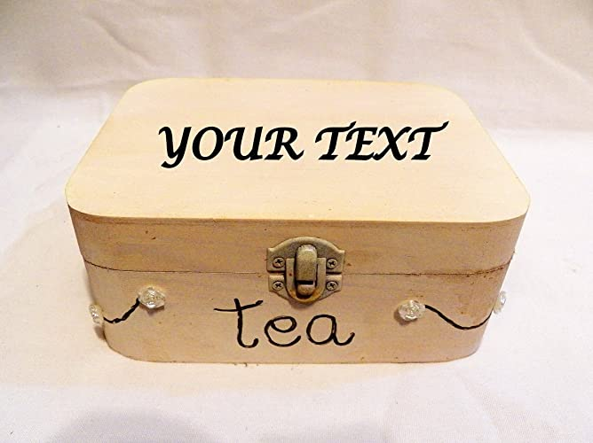 Pequeña caja té madera, caja té personalizada, caja té pequeña, caja té blanca