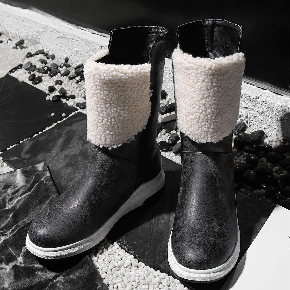 Lianaii Damen Stiefel Stiefel Der Herbst- Und Winterfrauen Flacher Runder Kopf Seitlicher Reißverschlussstiefel