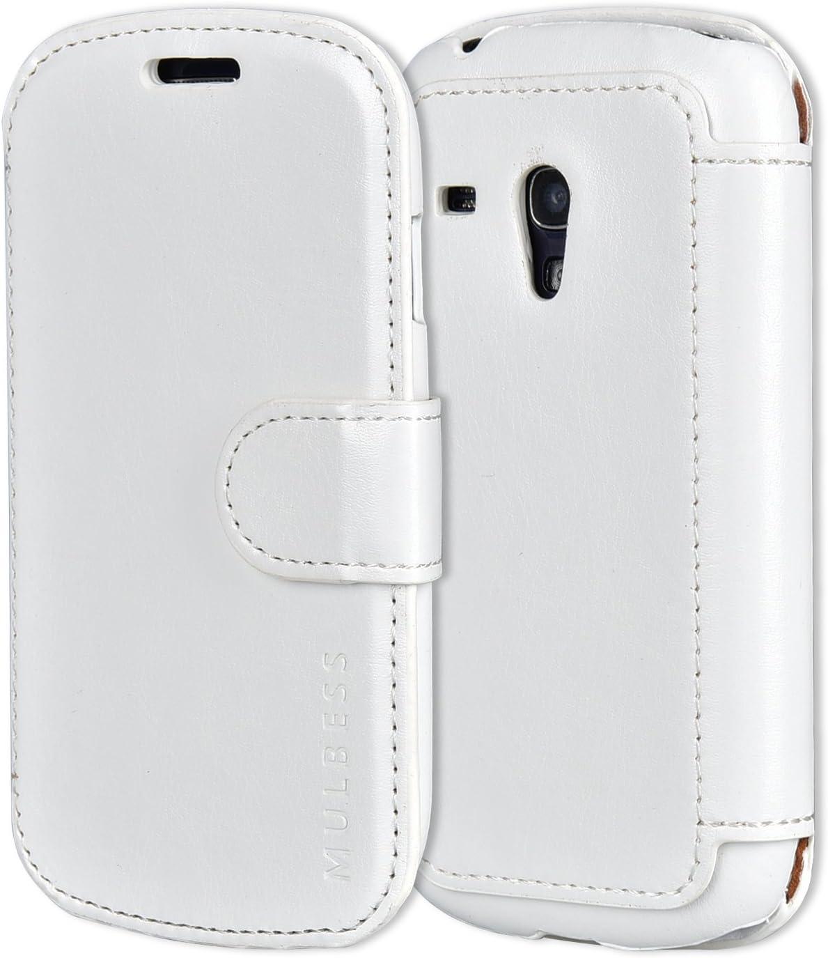 Mulbess Funda Samsung Galaxy S3 Mini [Libro Caso Cubierta] [En Capas de Billetera Cuero de la PU] con Tapa Magnética Carcasa para Samsung Galaxy S3 Mini Case, Blanco: Amazon.es: Electrónica
