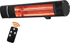 Sunday Living Electric Patio Heater, 1500W Outdoor Heater with 3 Power Settings, Infrared Heater with Remote Control, Overheat Protection, Super Quiet Wall Mounted Space Heater, In/Outdoor, TW15R