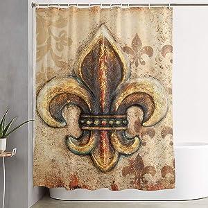 Fleur De Lis Shower Curtain,Bathroom Curtains Sets with Hooks Shower Bath Curtain for Bathroom,Polyester Bathroom Shower Curtain