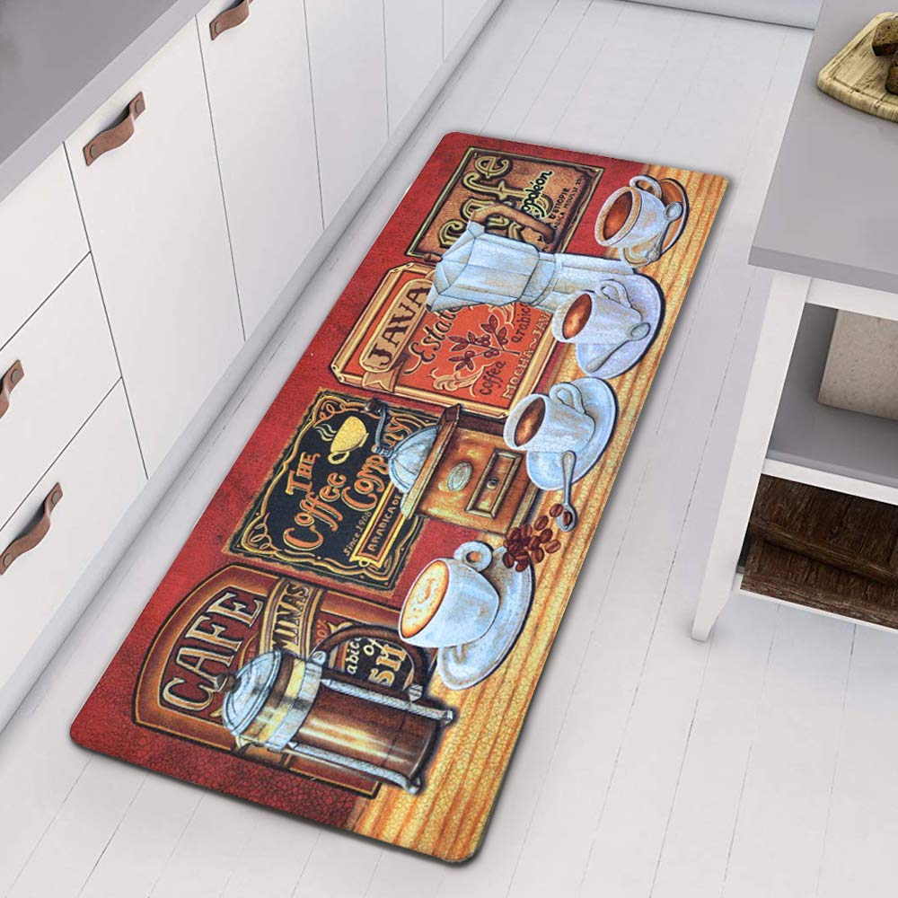 HEBE Vintage Runner Rug for Kitchen Floor Laundry Room Durable Waterproof Bathroom Carpet Kitchen Runner Floor Mat Door Mat Area Rug, 20x48,Coffee Time