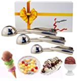 Ice Cream Scoops, MAGICYOYO Trigger Cookie Scoop Set Stainless Steel Spoon Scoopers Gift for Kids, Friends& Familes(Set of 3) In A Gift Box