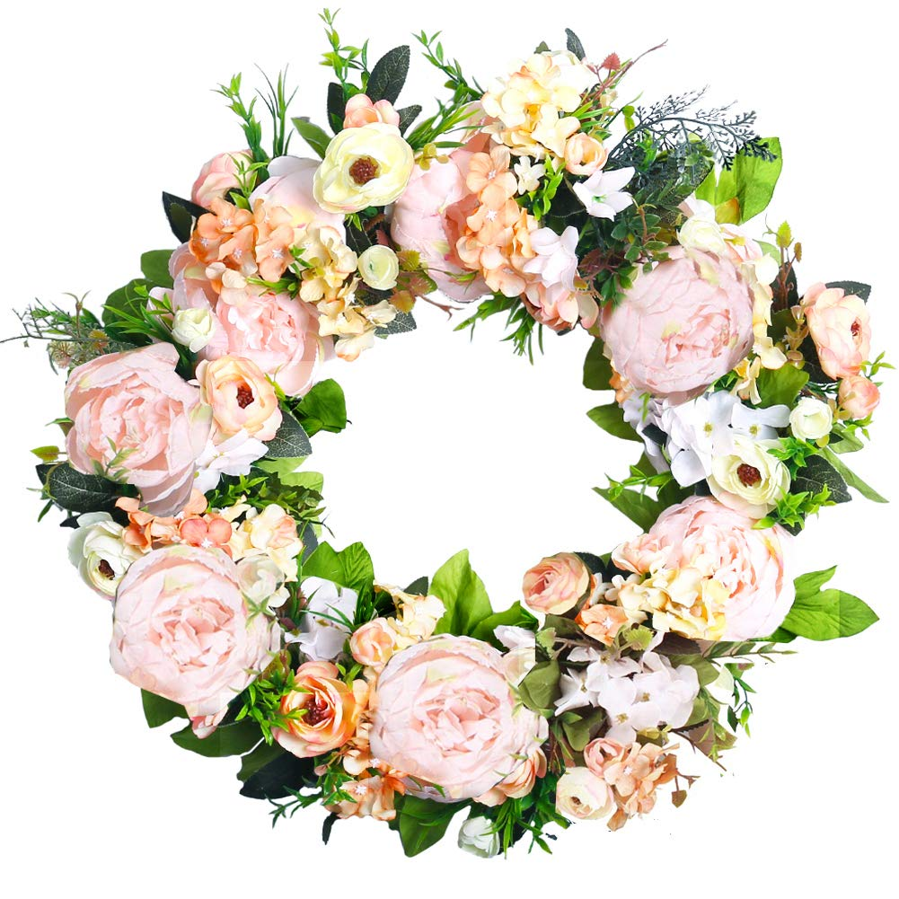 """HEBE 20"""" Peony Flower Wreath for Front Door Large Artificial Pink Peonies with Hydrangeas Welcome Floral Door Wreath for Wedding,Window, Wall,Home Decor All Seasons"""
