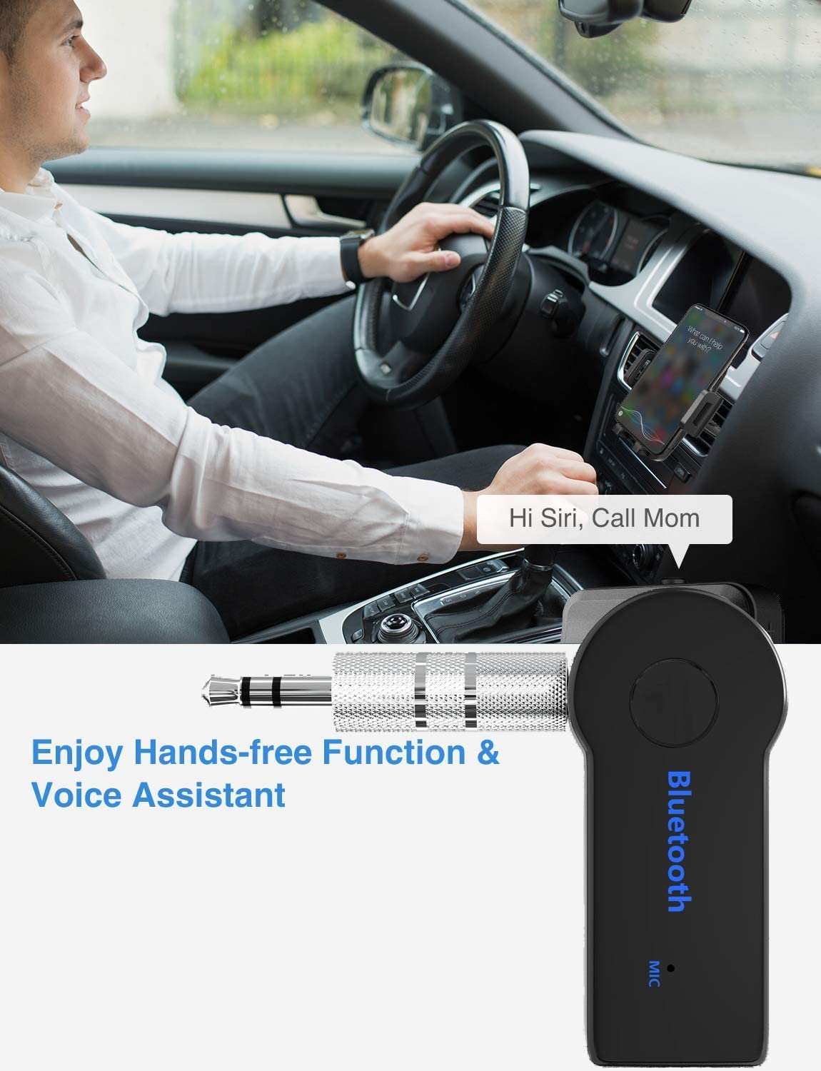 Portable Wireless Bluetooth Car Aux Adapter /& Hands-Free Car Kits Audio Bluetooth Receiver for Speakers Home Stereo Music Streaming Sound System 3.5 mm Earphone Car Bluetooth Receiver V4.2