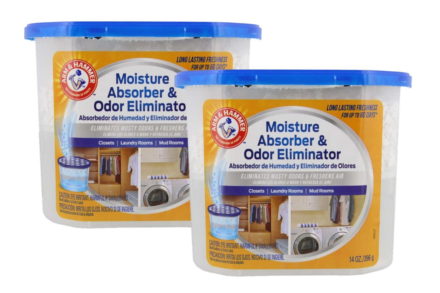 Arm & Hammer Moisture Absorber & Odor Eliminator 14oz Tub, 2 Pack - Eliminates Musty Odors & Freshens Air for Closets, Laundry rooms, Mud Rooms
