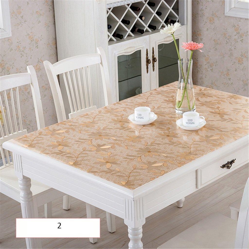 CHAI テーブルクロス 長方形 テーブルクロス プラスチック テーブルクロス PVC素材 シンプルスタイル ゴールドリーフ 防水 60x100cm 8965614 60x100cm  B07KR7CP2C