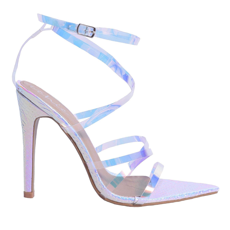 b3fb1fbb721 Womens Ladies Reflective Snake Effect Stiletto High Heel Barely ...