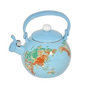 HOME-X Globe Map Whistling Tea Kettle, Cute Fruit Teapot, Kitchen Accessories/Decor
