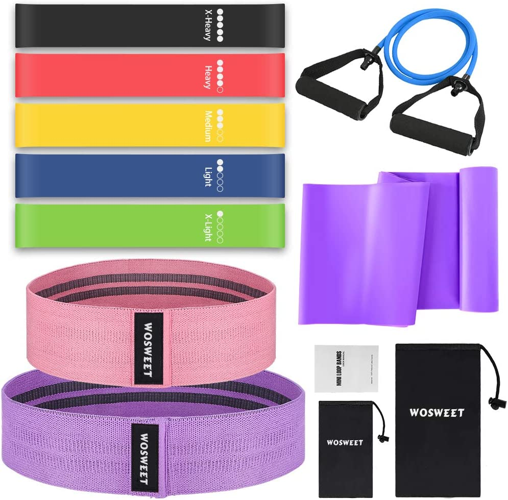 Wosweet Exercise Resistance Bands Set, 11 Pack Workout Bands Set with Guide Book, 5 Loop Resistance Bands 2 Resistance Bands for Hips 1 Latex Elastic Bands 1 Arm Workout Pull Rop 2 Carry Bag