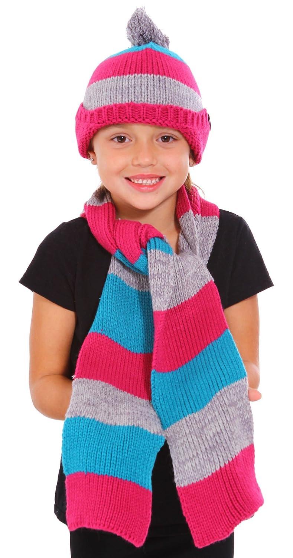 Amazon.com: Girls Winter Knitted Woolen Striped Pattern Hat & Scarf ...