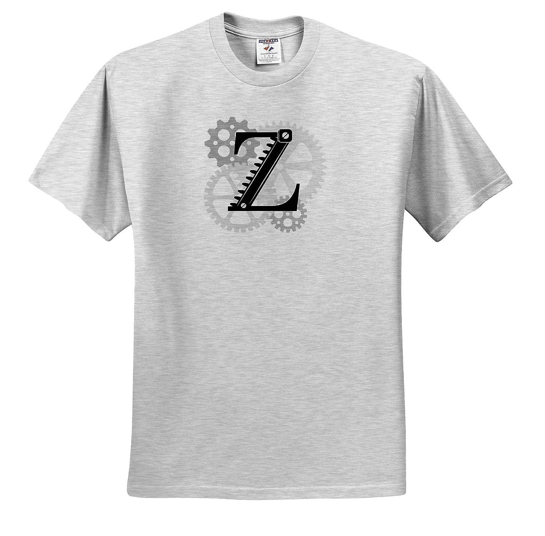 Mechanics Grey cogs Machinery T-Shirts Monogram Mechanics Gears Charming Black Letter Z 3dRose Alexis Design