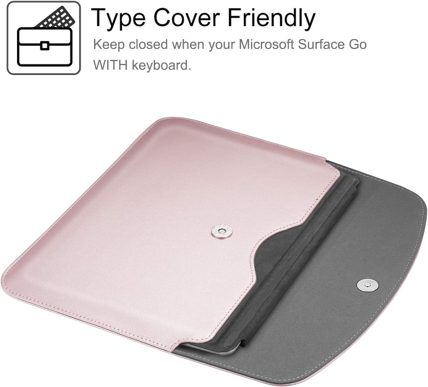 Rose Gold Compatible with Type Cover Keyboard Slim Fit Vegan ...