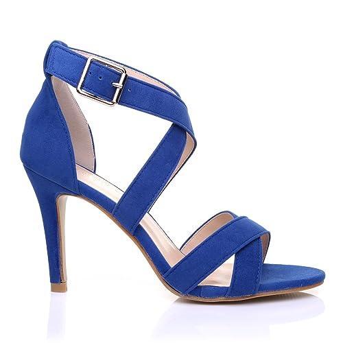 SOPHIE Royal Blue Suede Strappy High Heel Sandals Size UK 3 EU 36