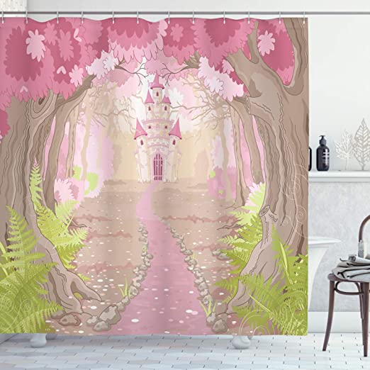 Amazon Com Ambesonne Feminine Shower Curtain Fairy Tale Theme