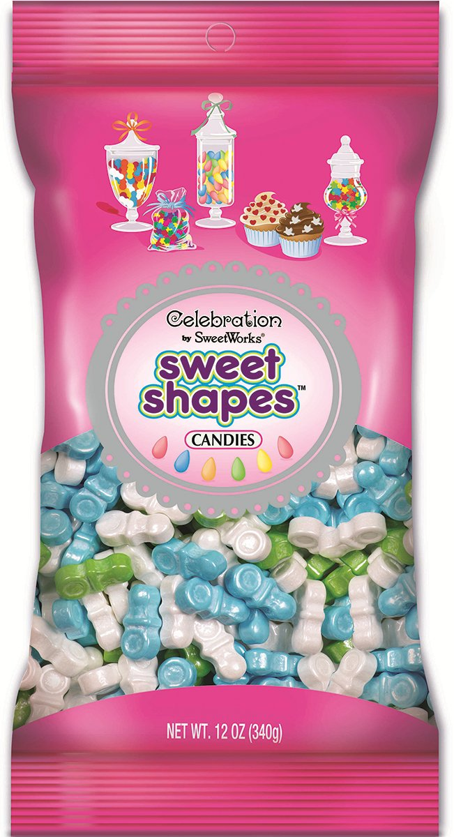 Sweetworks Celebrations Candy Sweet Shapes Bag, 12 oz, Shimmer Boy Mix Pacifiers