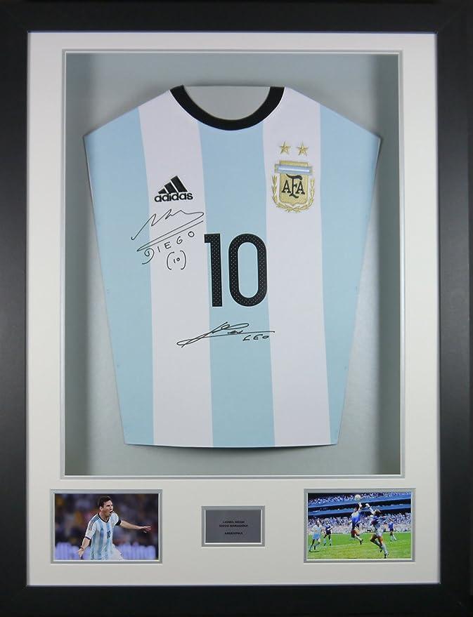 Messi y Maradona Argentina firmada camiseta 3d enmarcado pantalla ...