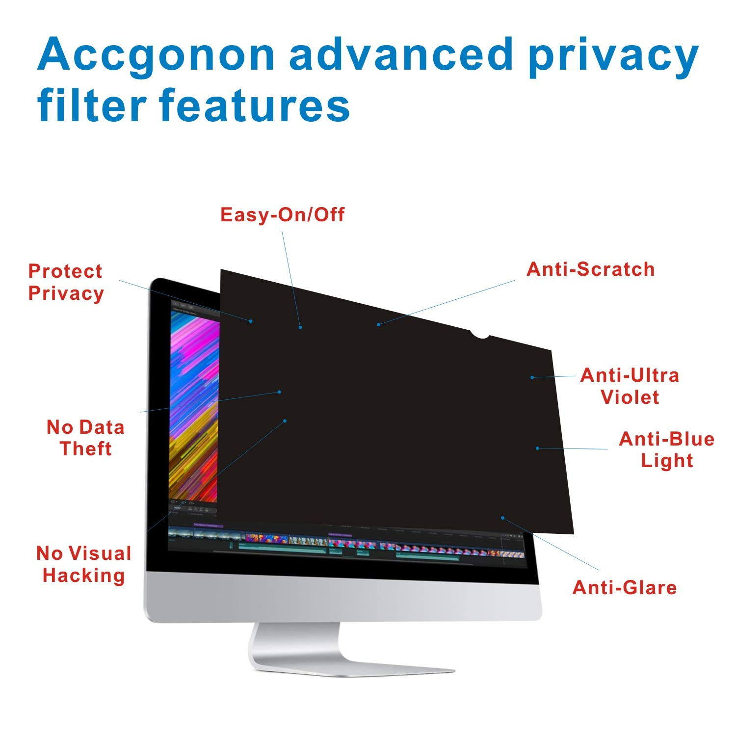 Accgonon Computer Privacy Screen Filters for 25-inch Widescreen(16:9) Monitor Privacy Screen Protector,Anti-Glare Anti-Spy Anti-Blue Scratch and UV Protection,Easy Install by ACCGONON (Image #3)