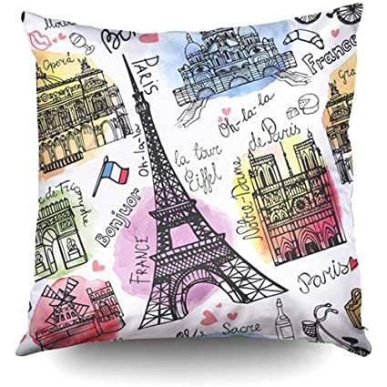 Amazon.com: XMas Paris Landmark Pattern Watercolor Vintage ...