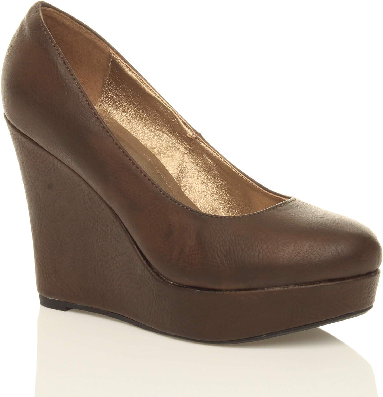 Femmes Plateforme Talon Haut compensé Classique Escarpins Chaussures Pointure Marron