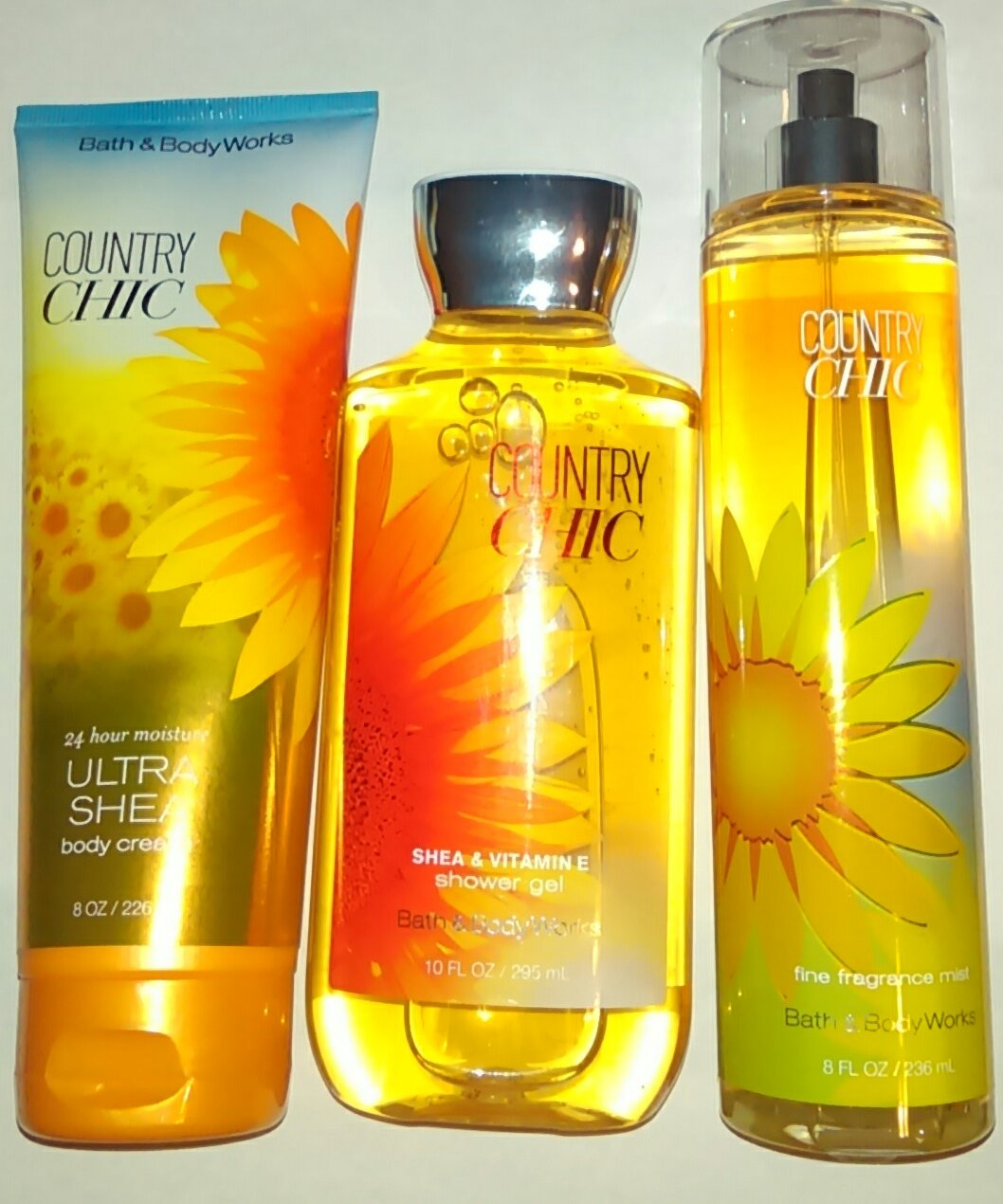 Bath & Body Works Country Chic Shower Gel, Ultra Shea Body Cream & Fine Fragrance Mist