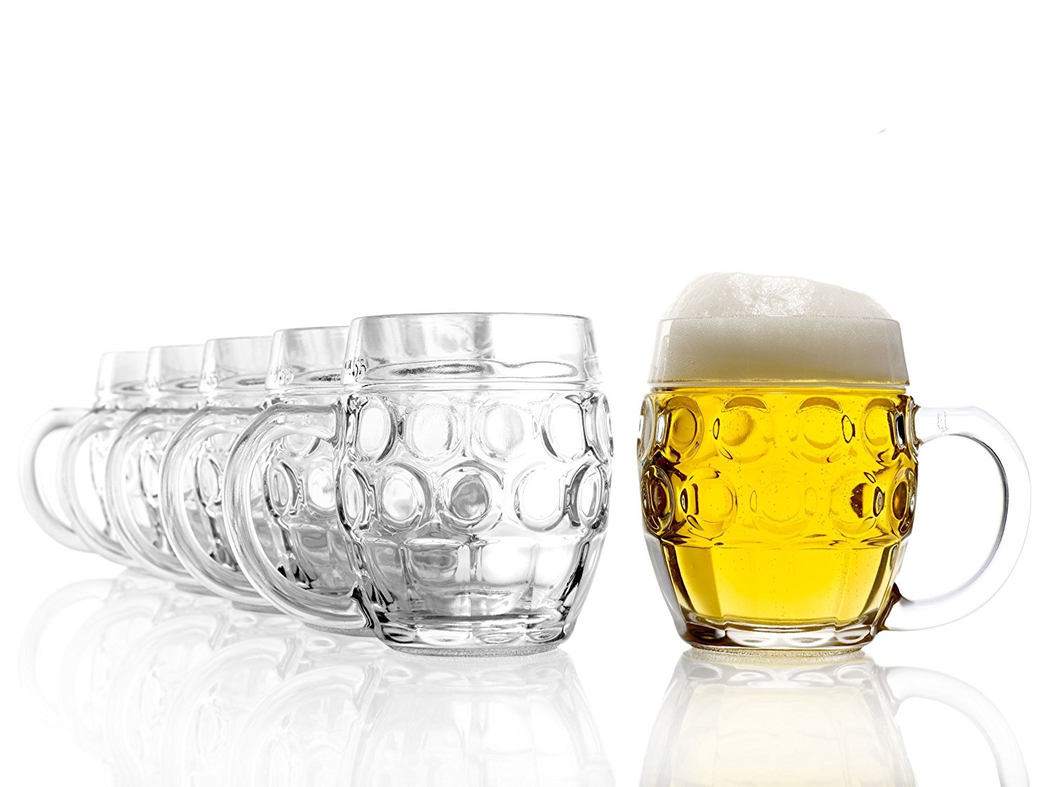 Stölzle Oberglas Tübinger Eye Pint Glass Ball, 0.5 Litre Jug with Fill Line, Traditional Design, Set of 6, Dishwasher Safe