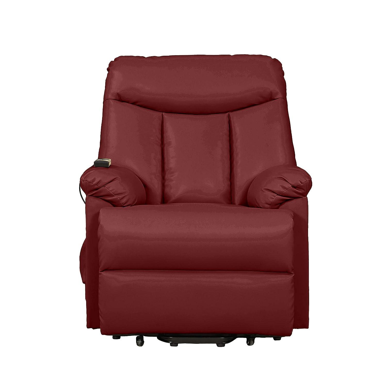 Domesis Renu Leather Wall Hugger Power Lift Chair Recliner, Burgundy Red Renu Leather