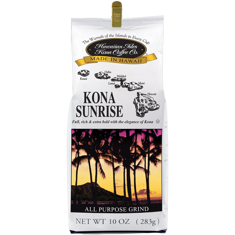 Amazon.com : Hawaiian Isles Kona Coffee Co. Kona Sunrise Ground ...