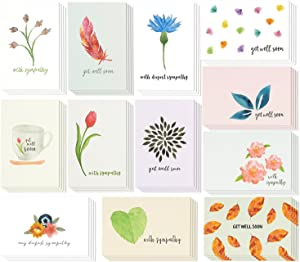 48-Pack Get Well Cards & Sympathy Cards Assortment Kit, Envelopes Included, Watercolor Floral Foliage Designs Greeting Card, 4 x 6 inches