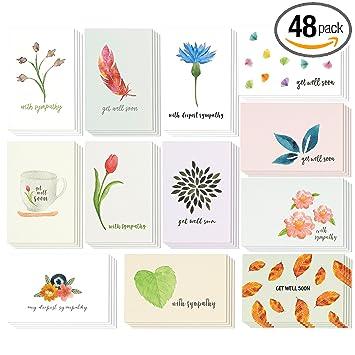 Amazon sympathy cards 48 pack sympathy cards bulk greeting sympathy cards 48 pack sympathy cards bulk greeting cards sympathy watercolor floral thecheapjerseys Choice Image