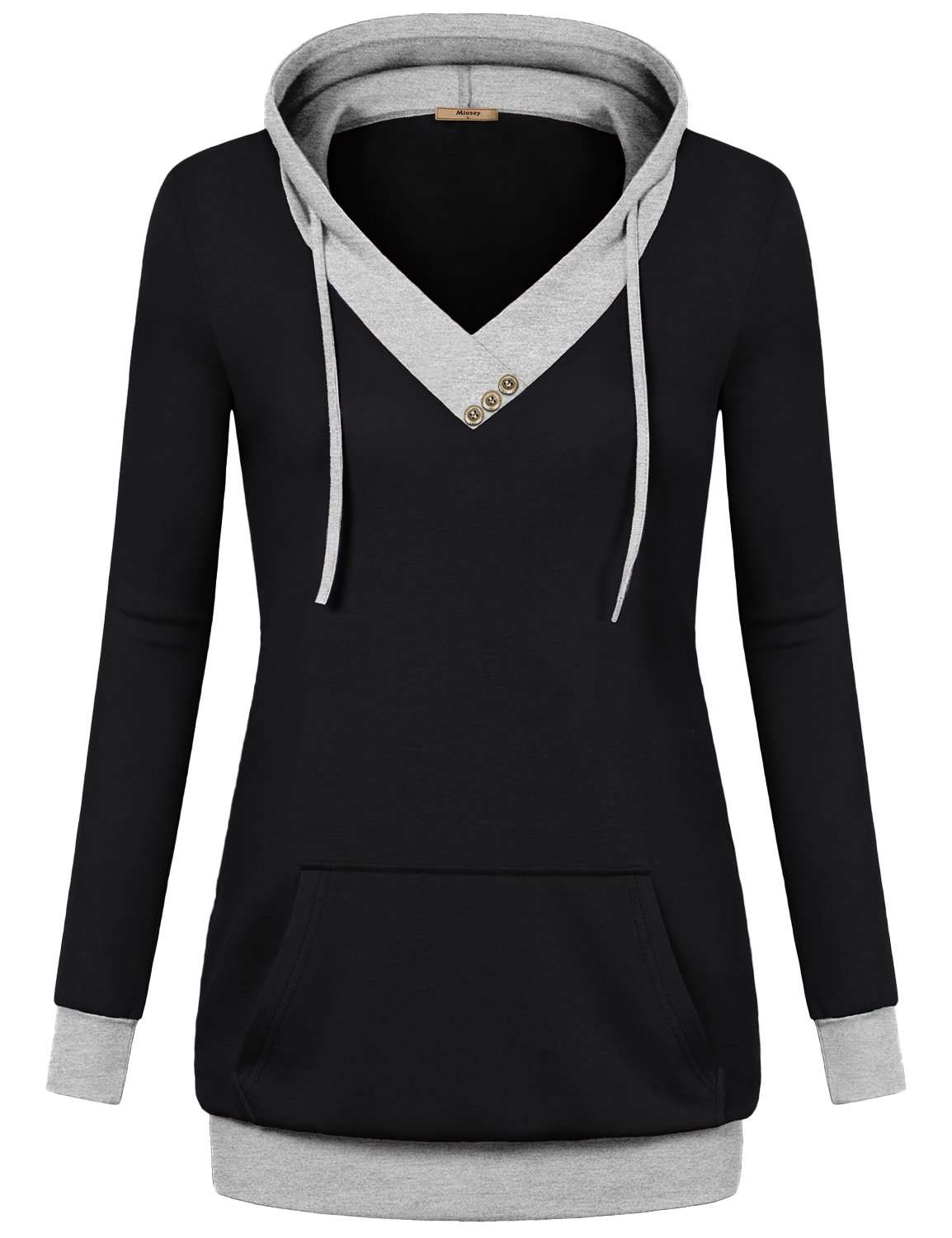 Miusey Business Casual Clothes for Women, Plus Size Fall V-Neck Long Sleeve Pullover Sweatshirt Hoodies with Kangaroo Pocket Black Medium