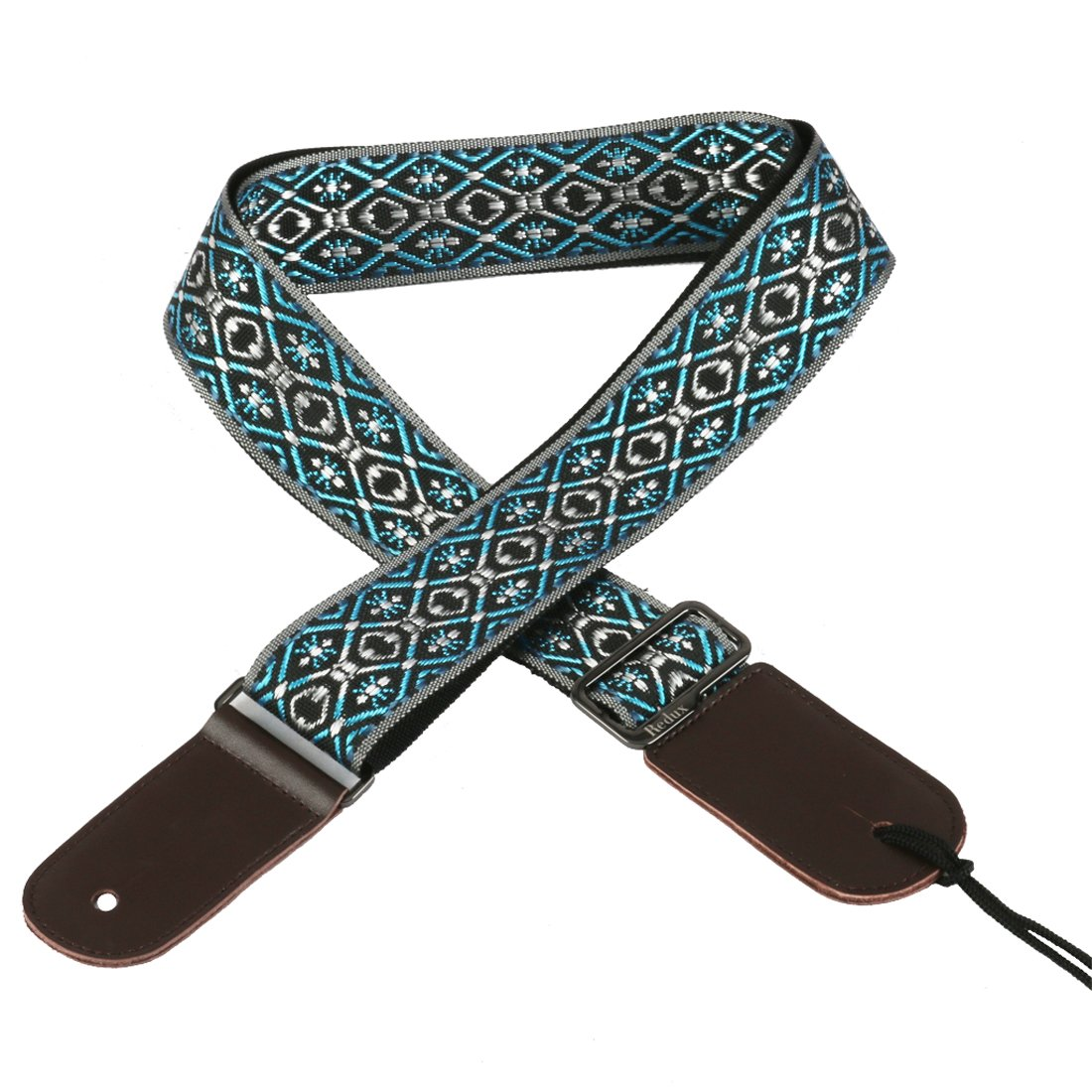 UBETA Guitar Strap Jacquard Weave Hootenanny Style & Genuine Leather Ends Apply to Acoustic and Electric Guitar, Bass - C17 HFS-02