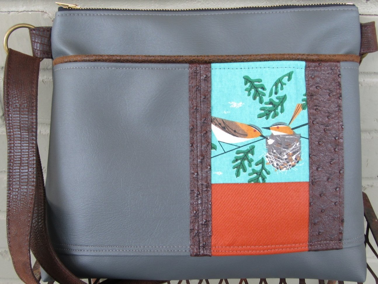 Crossbody Bag Large - Charley Harper Bird in a Nest Messenger Bag in Gray Vegan Leather