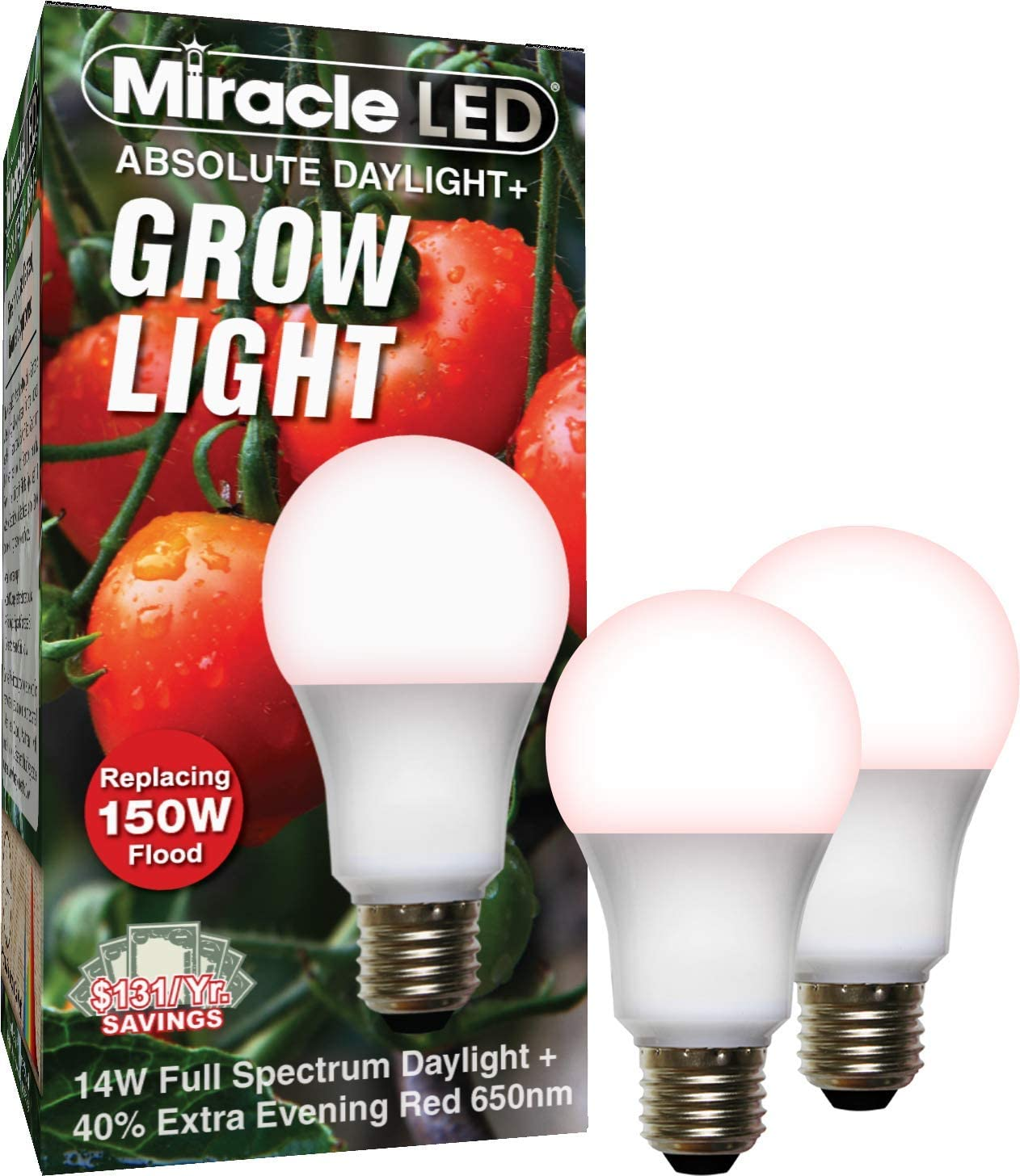 Miracle LED Absolute Daylight Plus Red Spectrum Grow Light - Replaces up to 150W - Plant Growing Light Bulb for Fruiting and Flowering (2-Pack)