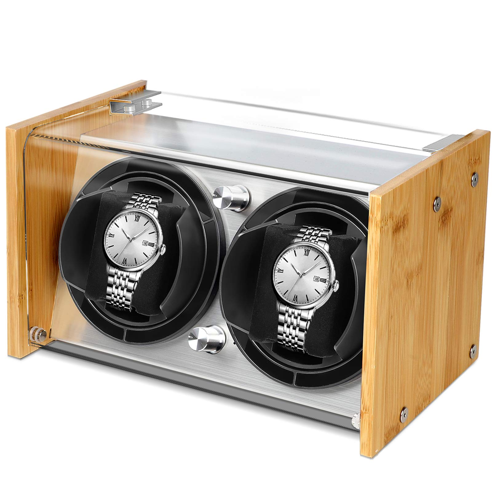 Bamboo Watch Winder for 2 Large to Small Automatic Watches by Watch Winder Smith