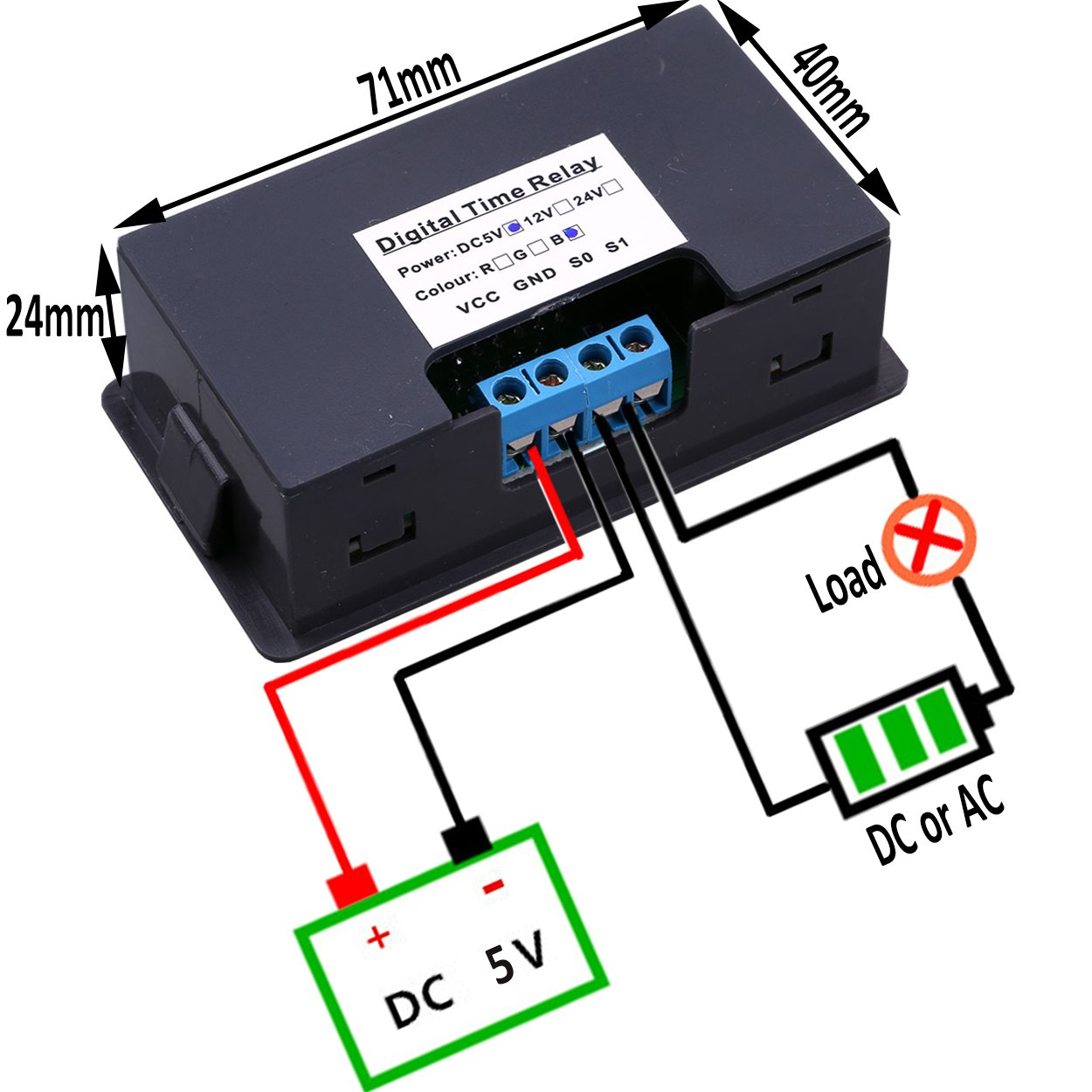 Yeeco Dual Digital Display Red Blue Led Dc 5v Timer Normally Open Off Delay Relay Board 1500w 10a Max On Timing Switch Module For Automotive Car Vehicle