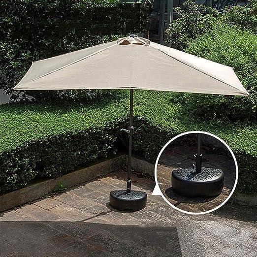 Sombrilla De Patio de Ocio de 2.3m × 1.2m, Sombrilla De Terraza, Sombrilla De Jardín De Media Plaza, Sombrilla Impermeable Y UV, Sombrilla De Playa, con Diseño De Manivela: Amazon.es: Jardín