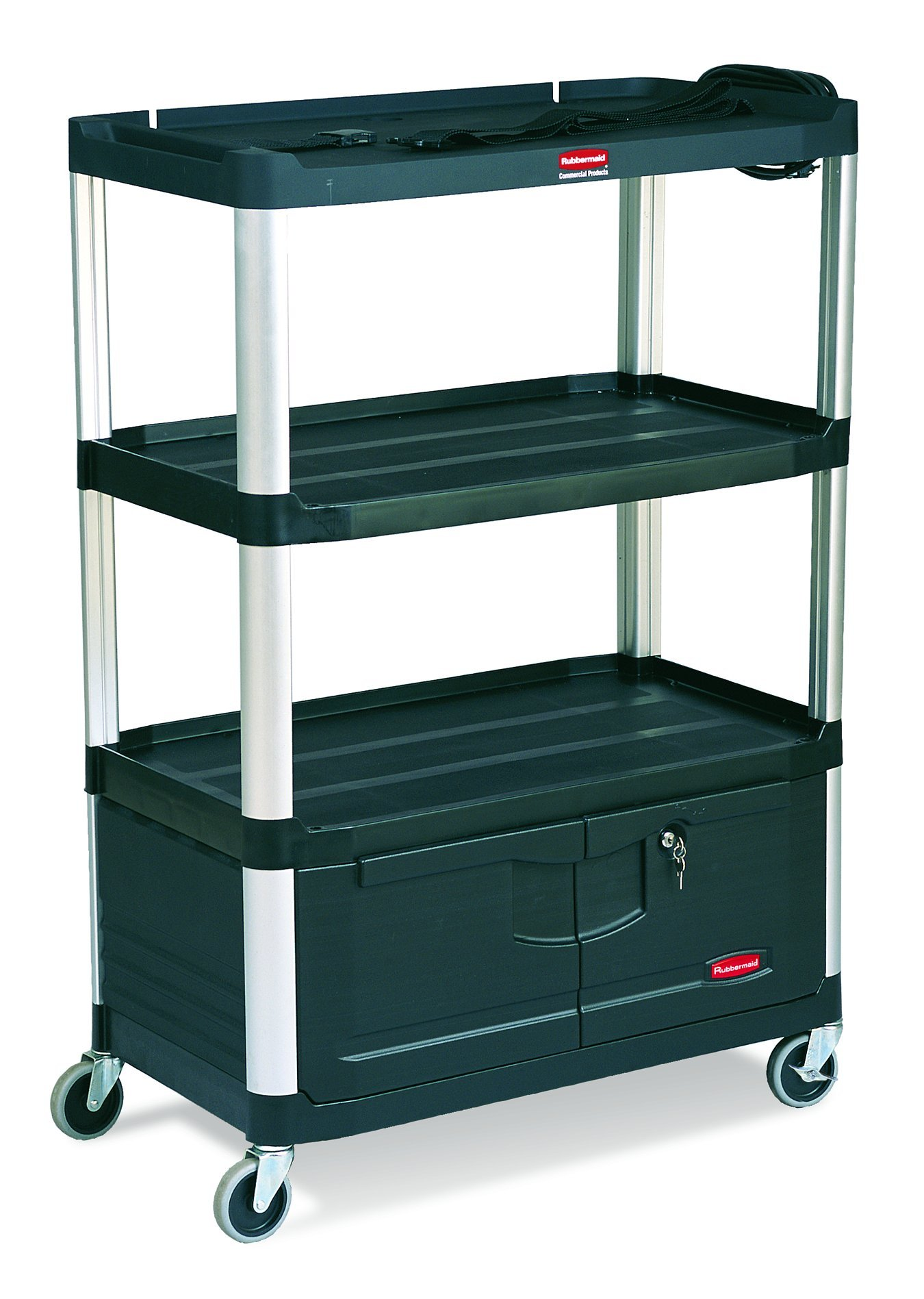 Rubbermaid Commercial FG9T3500BLA Audio-Visual Aluminum Service Cart, 4 Shelves With Cabinet, 4-inch Diameter Casters, Black by Rubbermaid Commercial Products