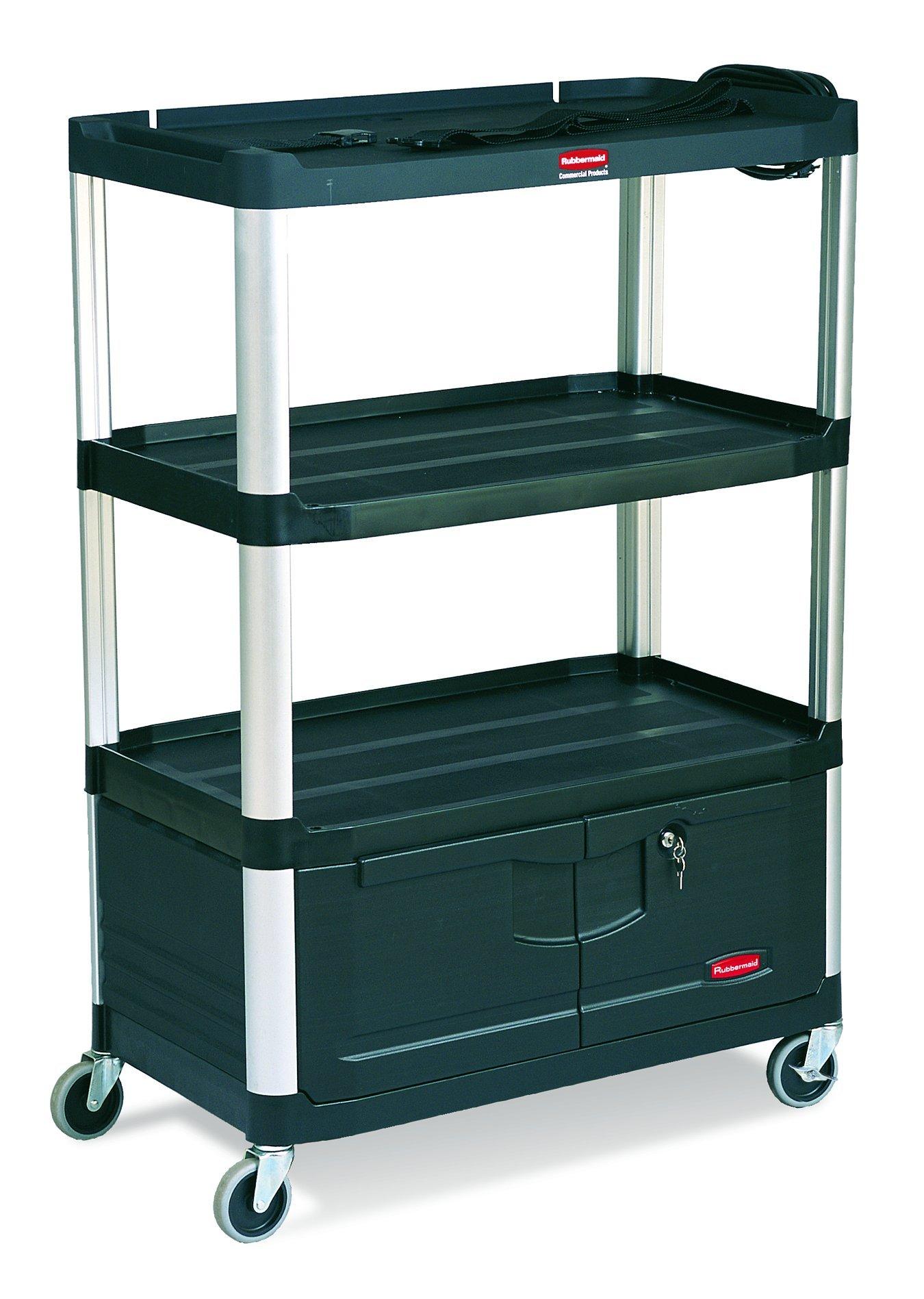Rubbermaid Commercial FG9T3500BLA Audio-Visual Aluminum Service Cart, 4 Shelves With Cabinet, 4-inch Diameter Casters, Black