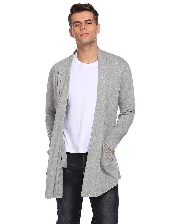 Modfine Men's Casual Long Sleeve Shawl Collar Ruffle Open Front Draped Knitwear Sweater Duster