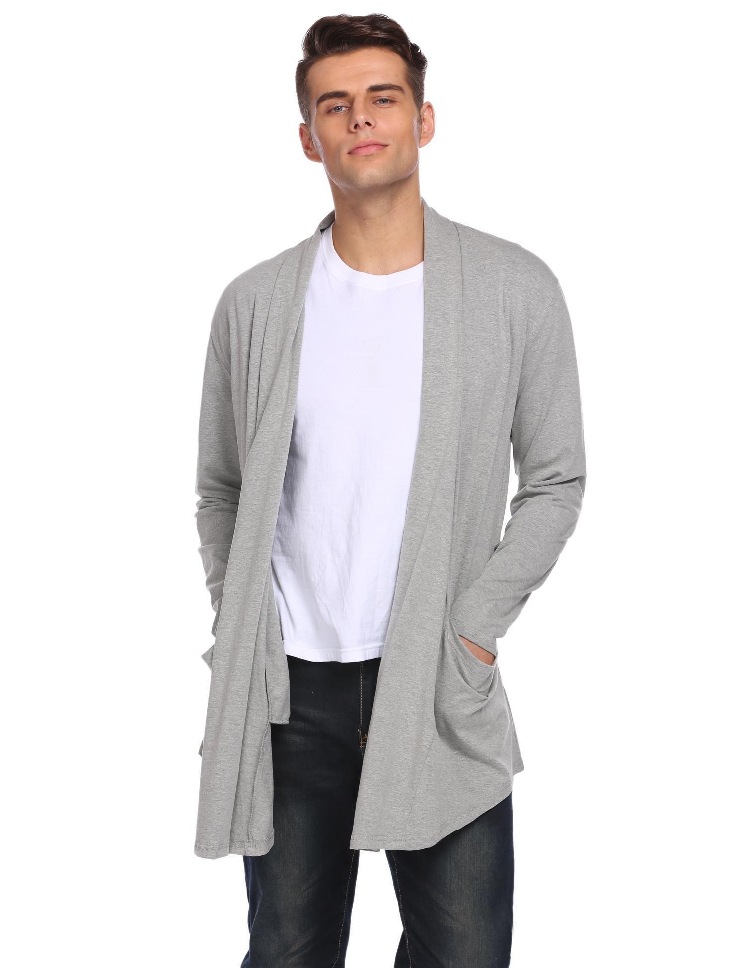 Edited Men's Ruffle Shawl Collar Long Sleeves Draped Cardigan Sweater with Pockets